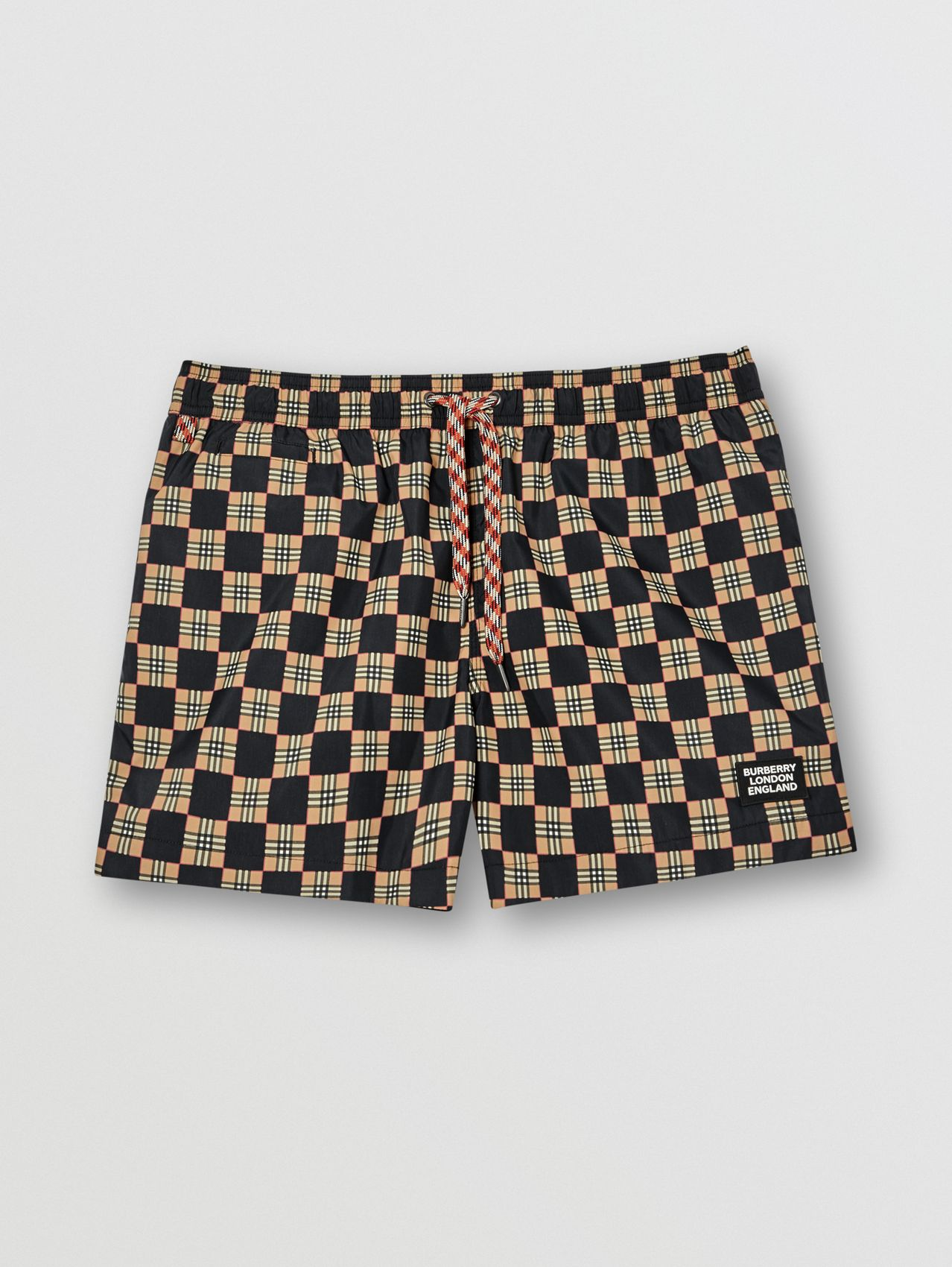 Chequer Print Drawcord Swim Shorts in Archive Beige