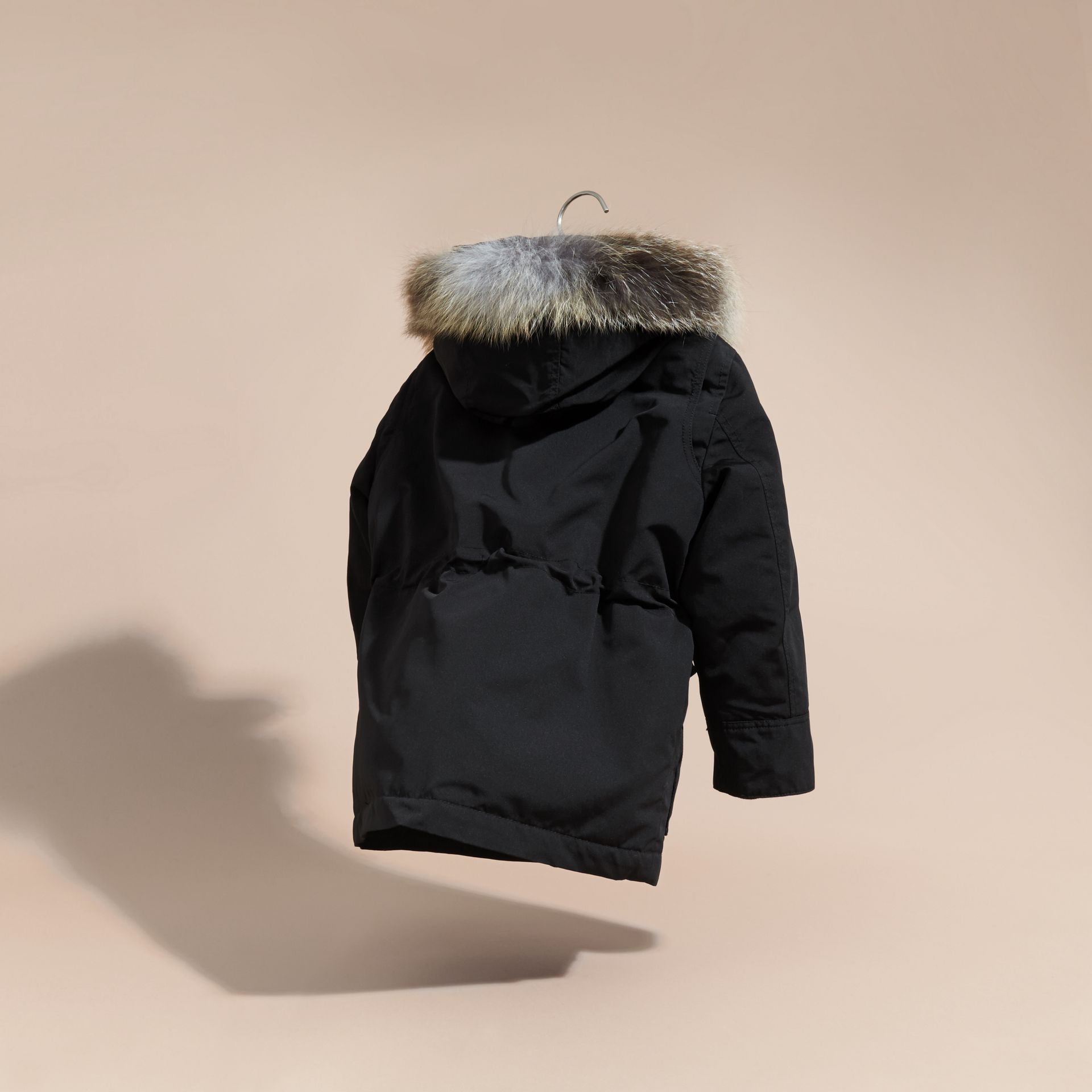 Black Fur-trimmed Down-filled Hooded Puffer Coat Black - gallery image 4