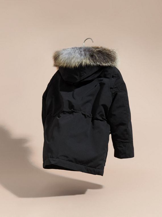 Black Fur-trimmed Down-filled Hooded Puffer Coat Black - cell image 3