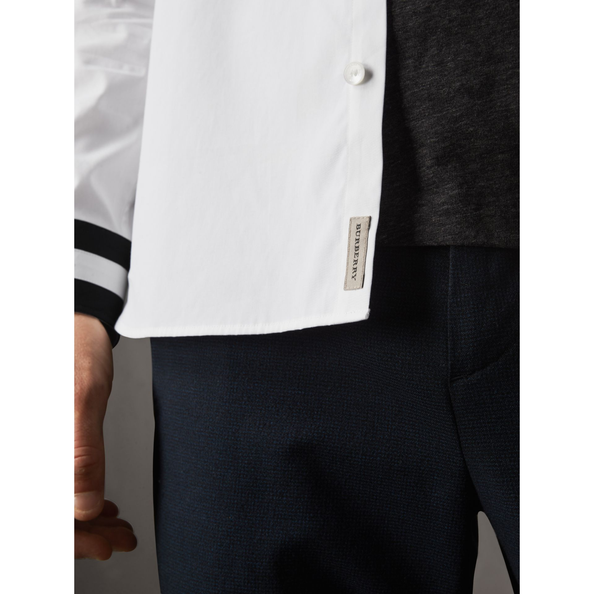 Striped Cuff Stretch Cotton Shirt in White - Men | Burberry - gallery image 4