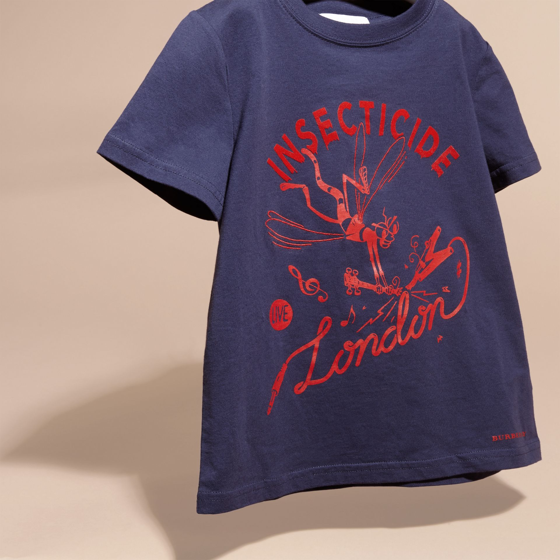 Indigo Baumwoll-T-Shirt mit verspieltem Druckmotiv - Galerie-Bild 3
