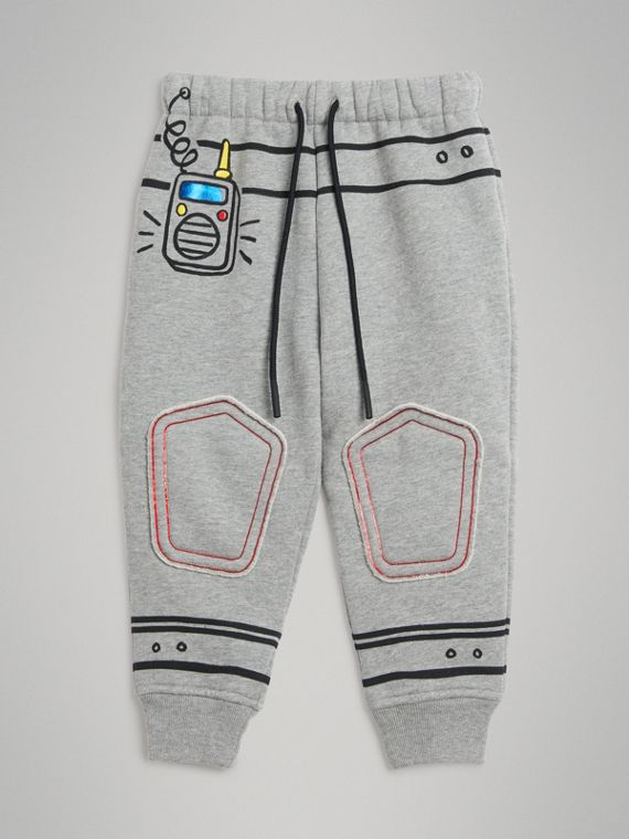 Спортивные брюки с космическим принтом (Серый Меланж)