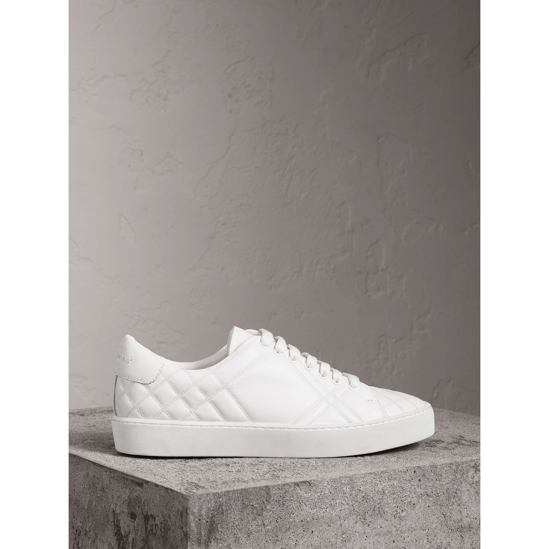 Check-quilted Leather Sneakers in Optic White - Women | Burberry Australia - gallery image 4