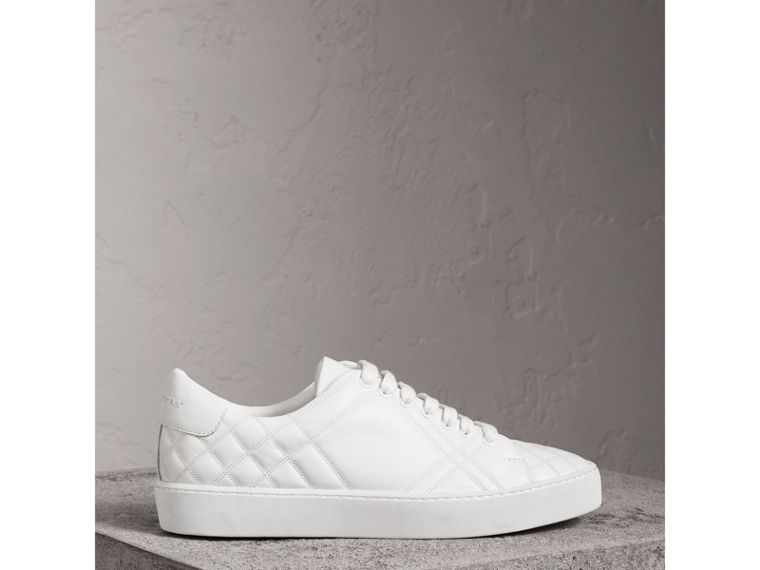 Check-quilted Leather Sneakers in Optic White - Women | Burberry - cell image 4