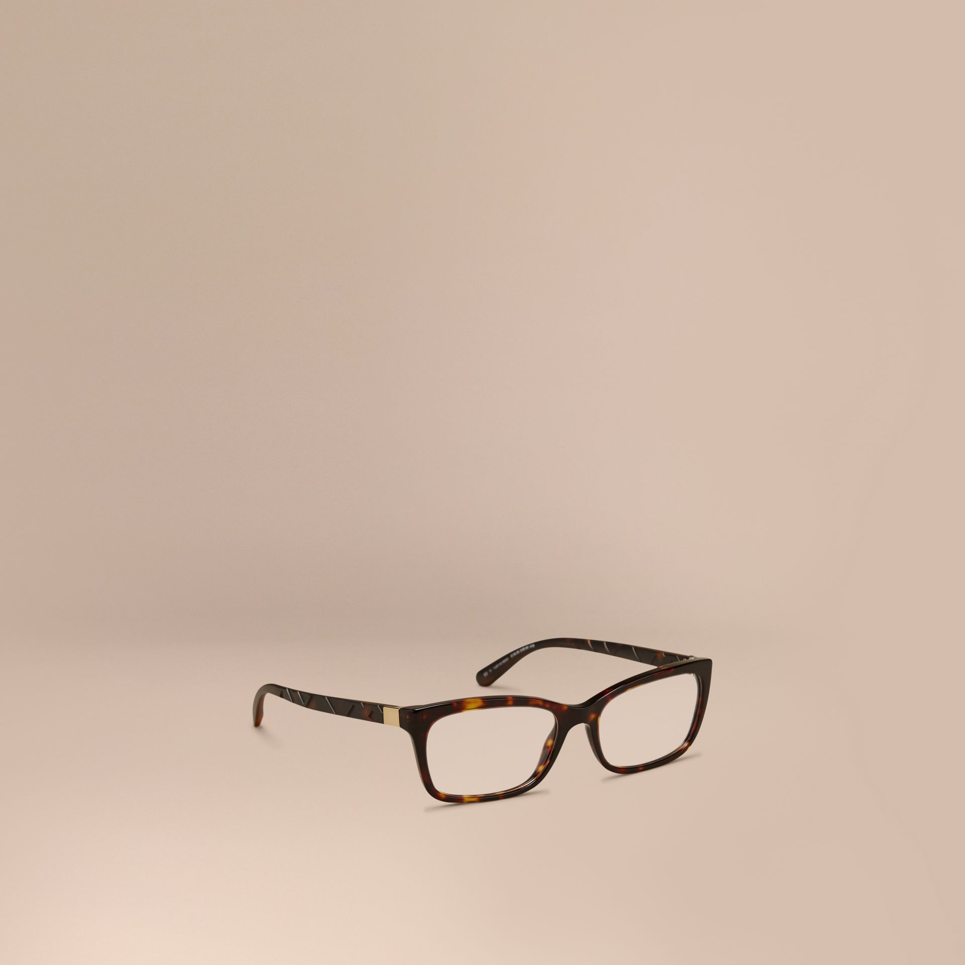 Tortoiseshell Check Detail Rectangular Optical Frames Tortoiseshell - gallery image 1