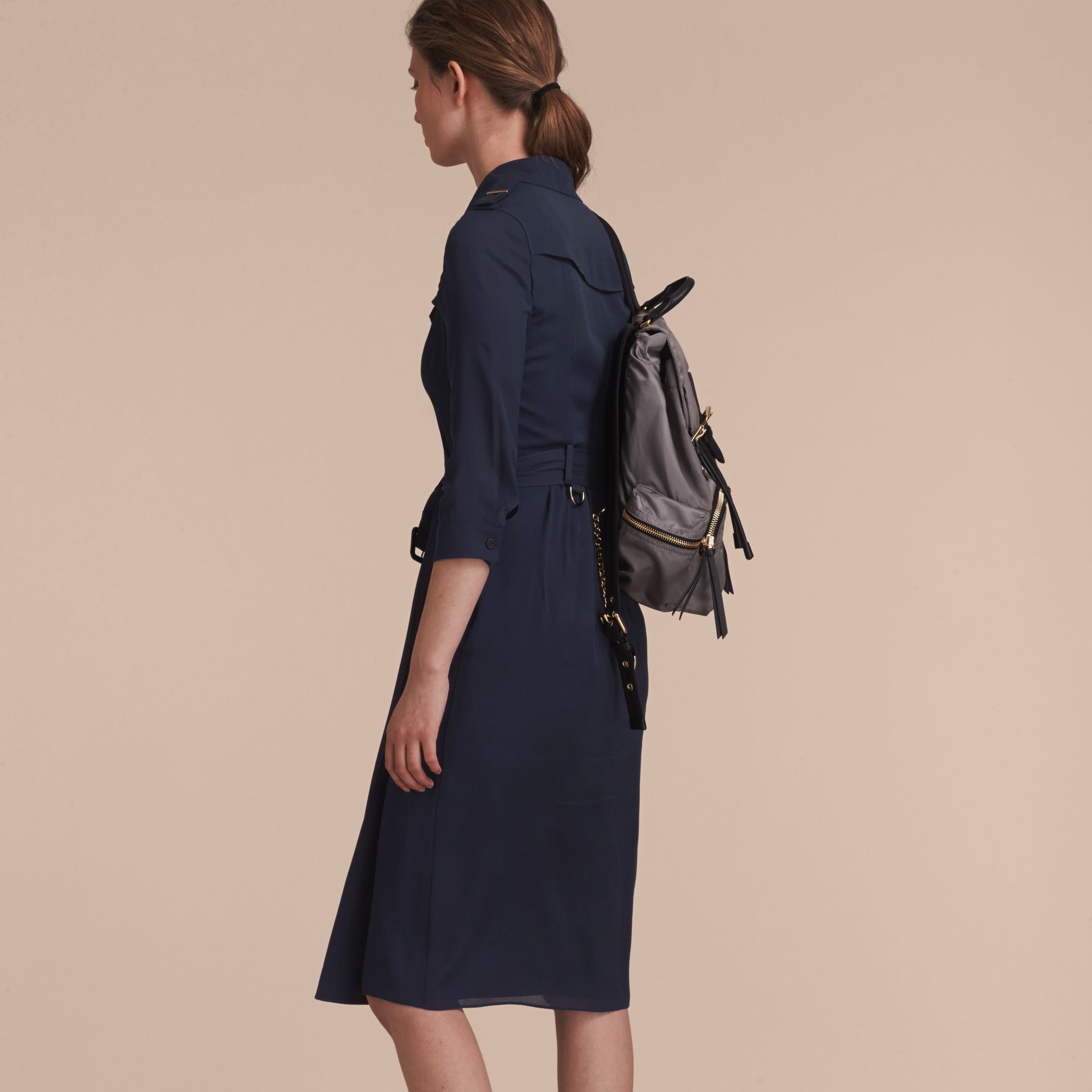 Silk Trench Dress Navy - gallery image 3