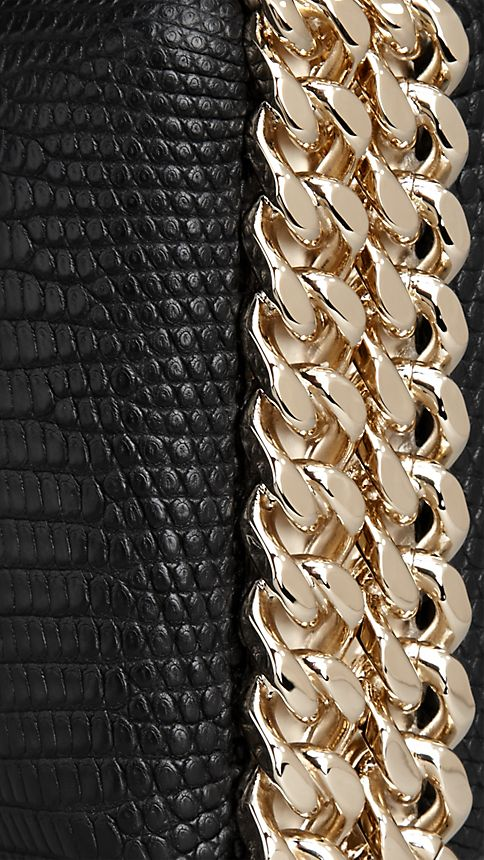 Black Chain-Detail Lizard Box Clutch - Image 6