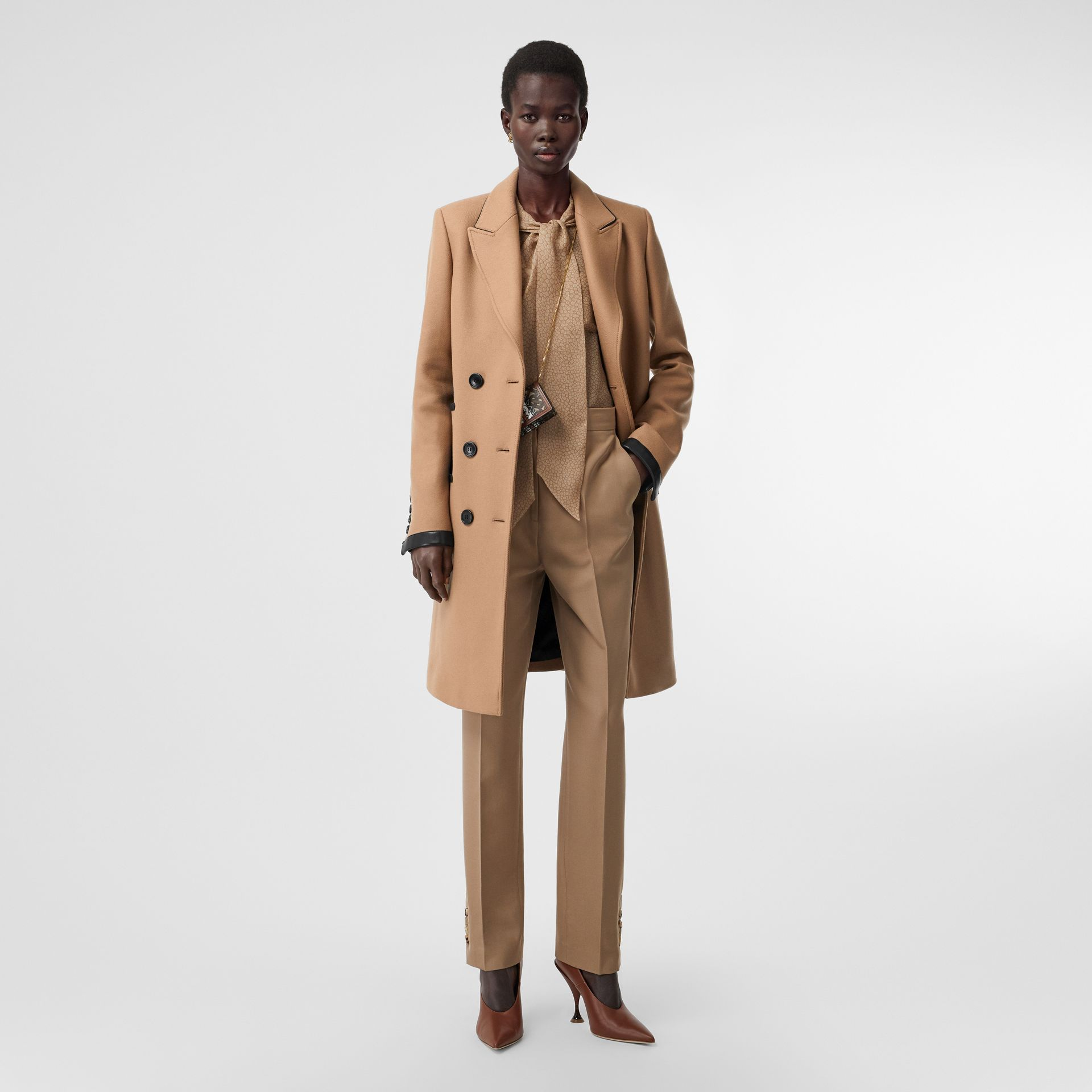Lambskin Trim Wool Cashmere Blend Tailored Coat in Camel - Women | Burberry United Kingdom - gallery image 0