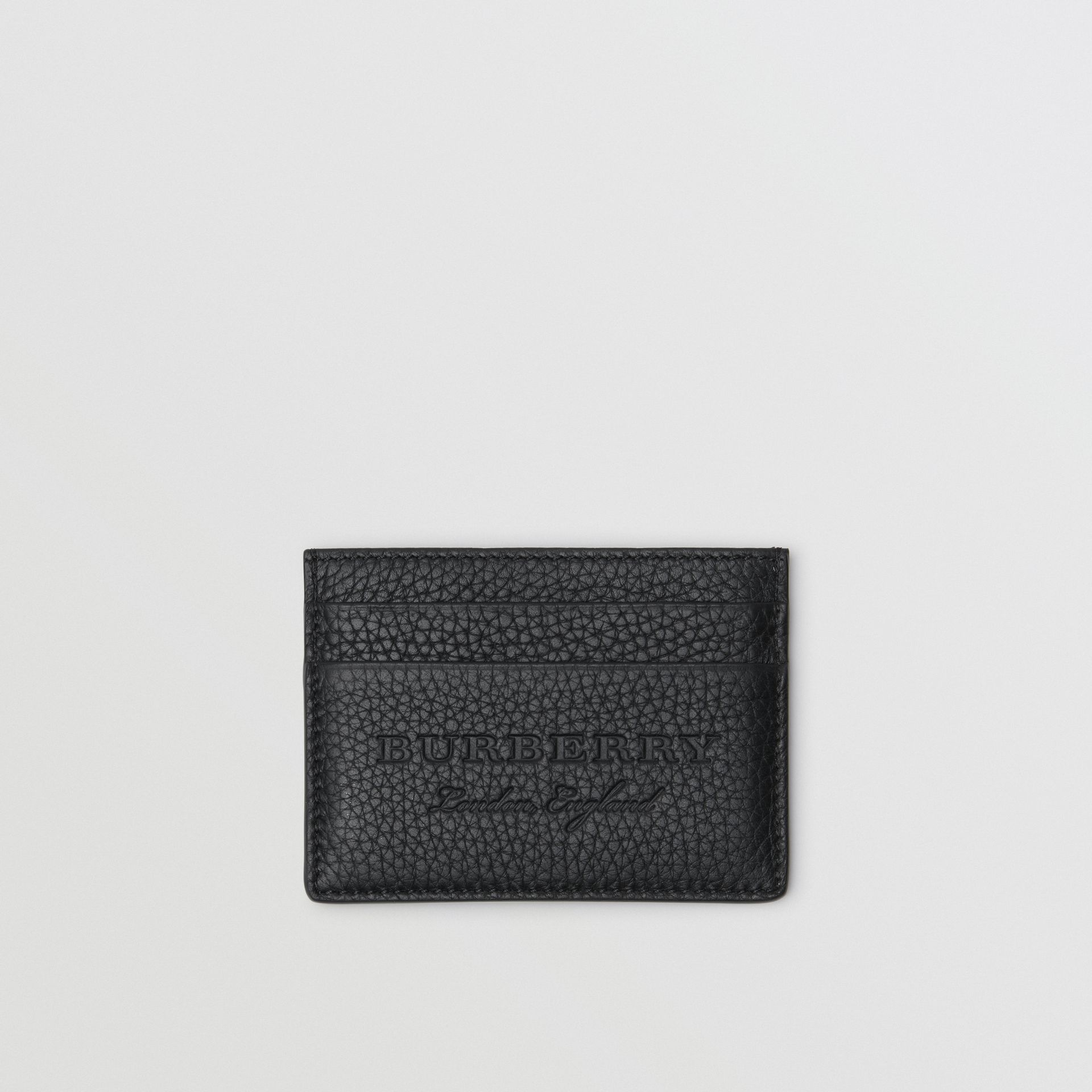 Textured Leather Card Case in Black | Burberry - gallery image 0