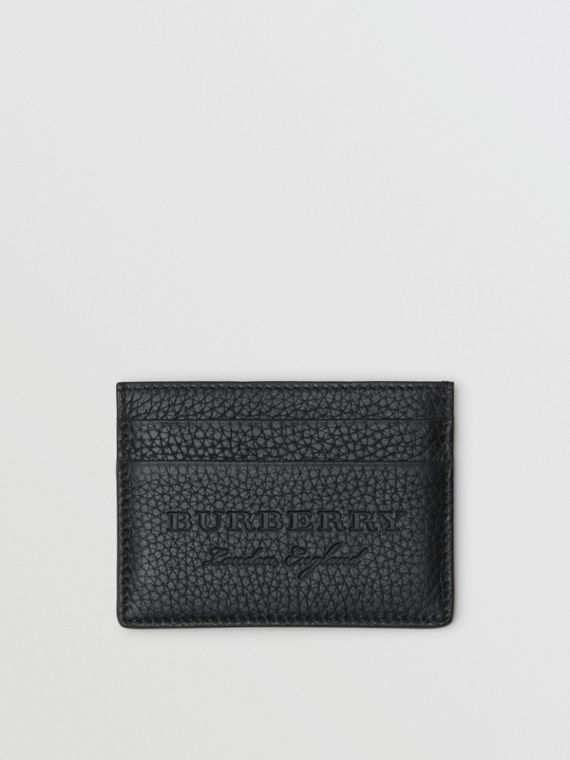 Textured Leather Card Case in Black