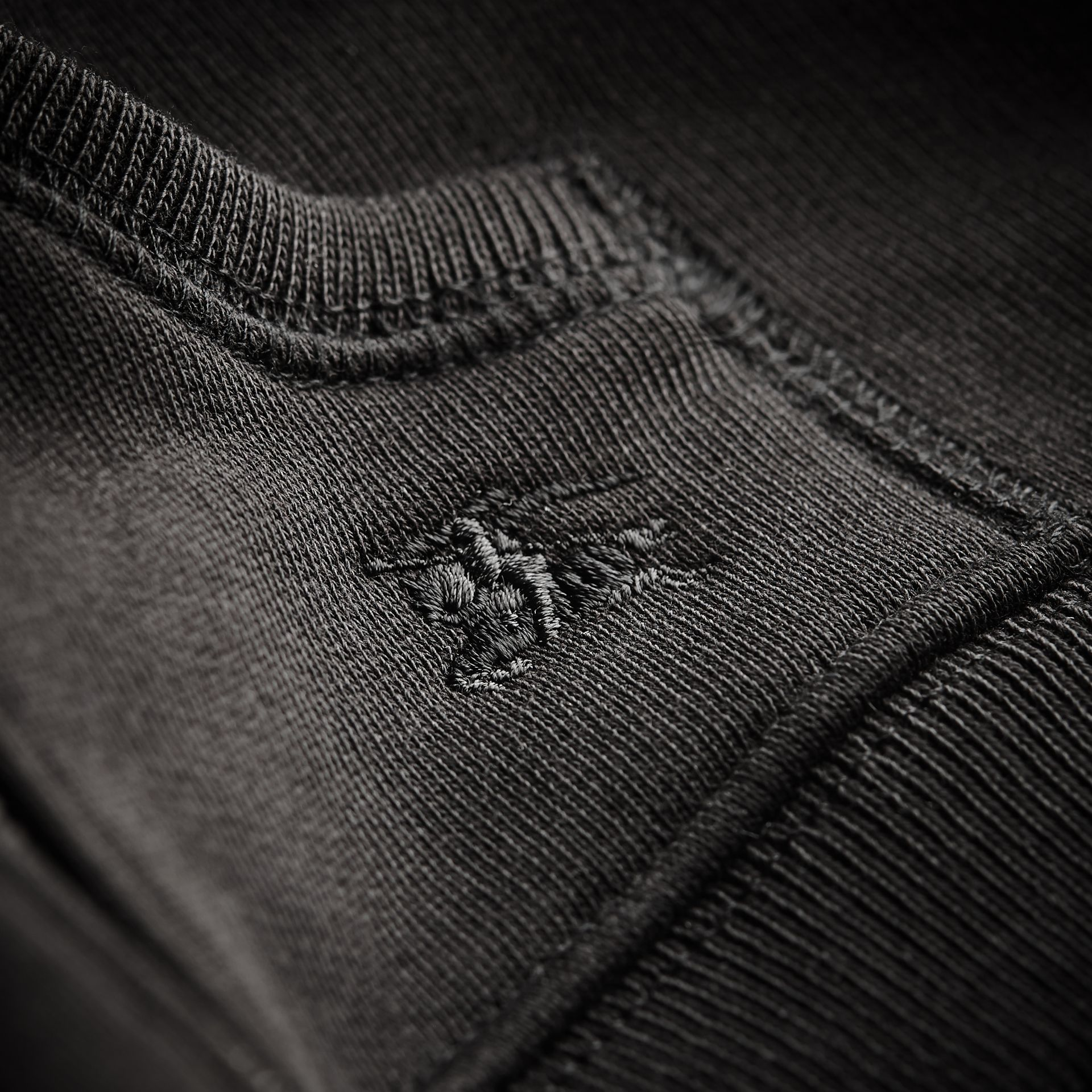 Check Detail Hooded Cotton Top in Black | Burberry - gallery image 2