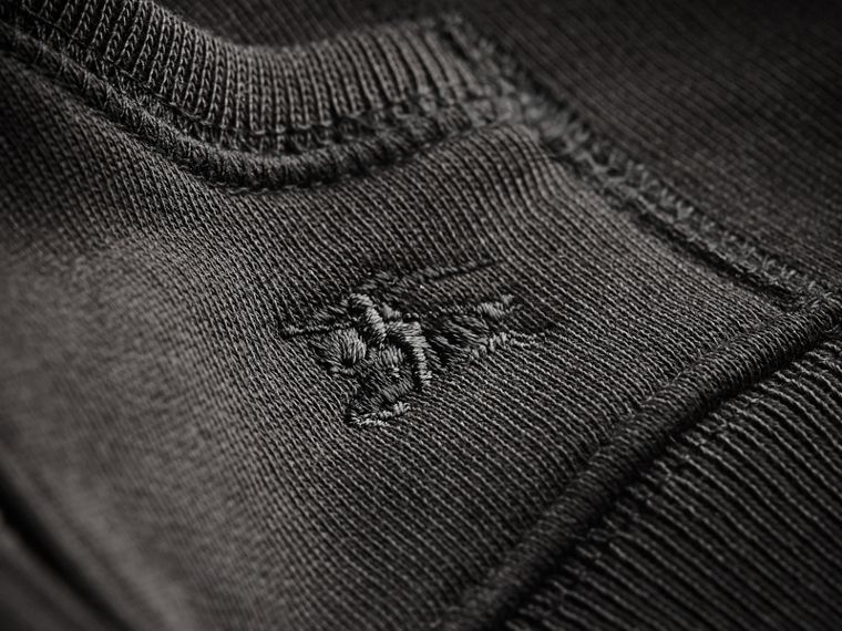 Check Detail Hooded Cotton Top in Black | Burberry - cell image 1
