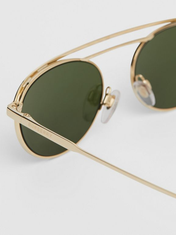Oval Frame Sunglasses in Green - Women | Burberry - cell image 1