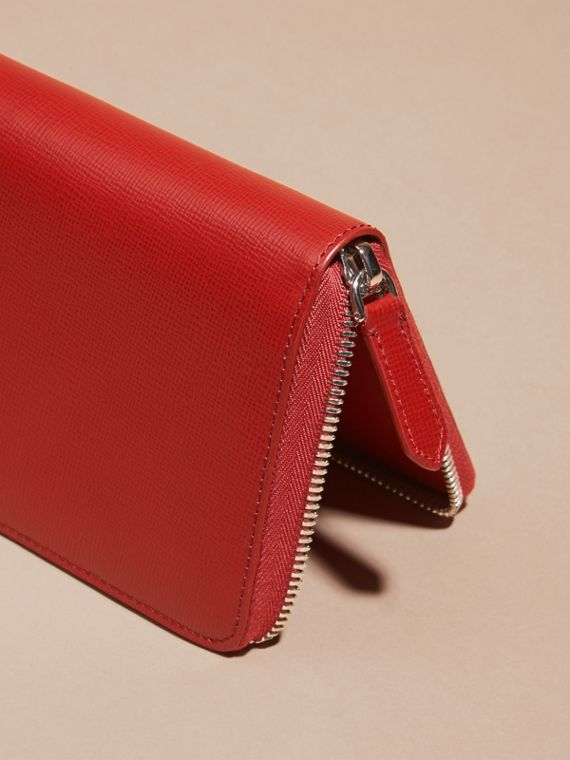 Dark military red London Leather Ziparound Wallet - cell image 3