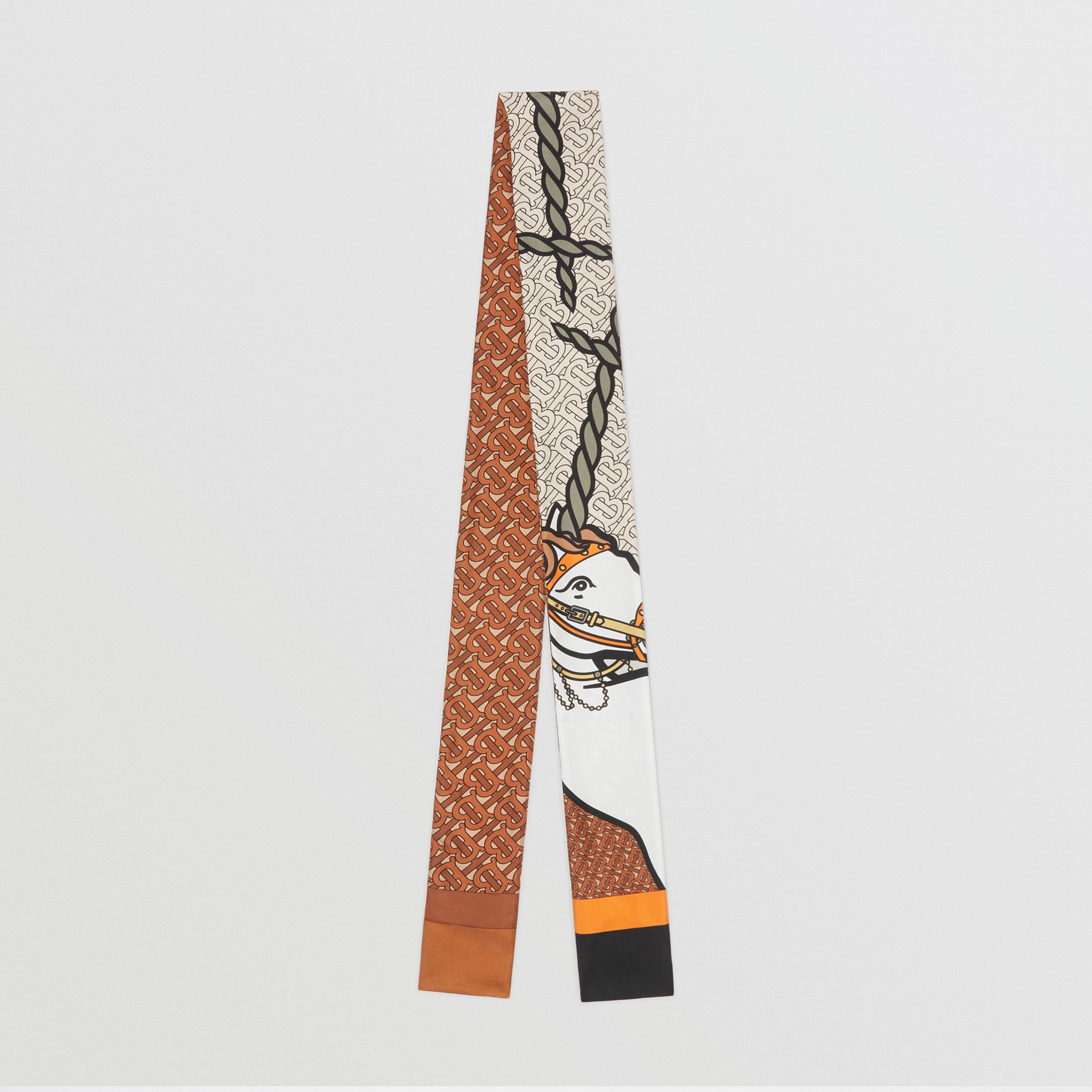 Unicorn and Monogram Print Silk Skinny Scarf in Multicolour - Women | Burberry - 1