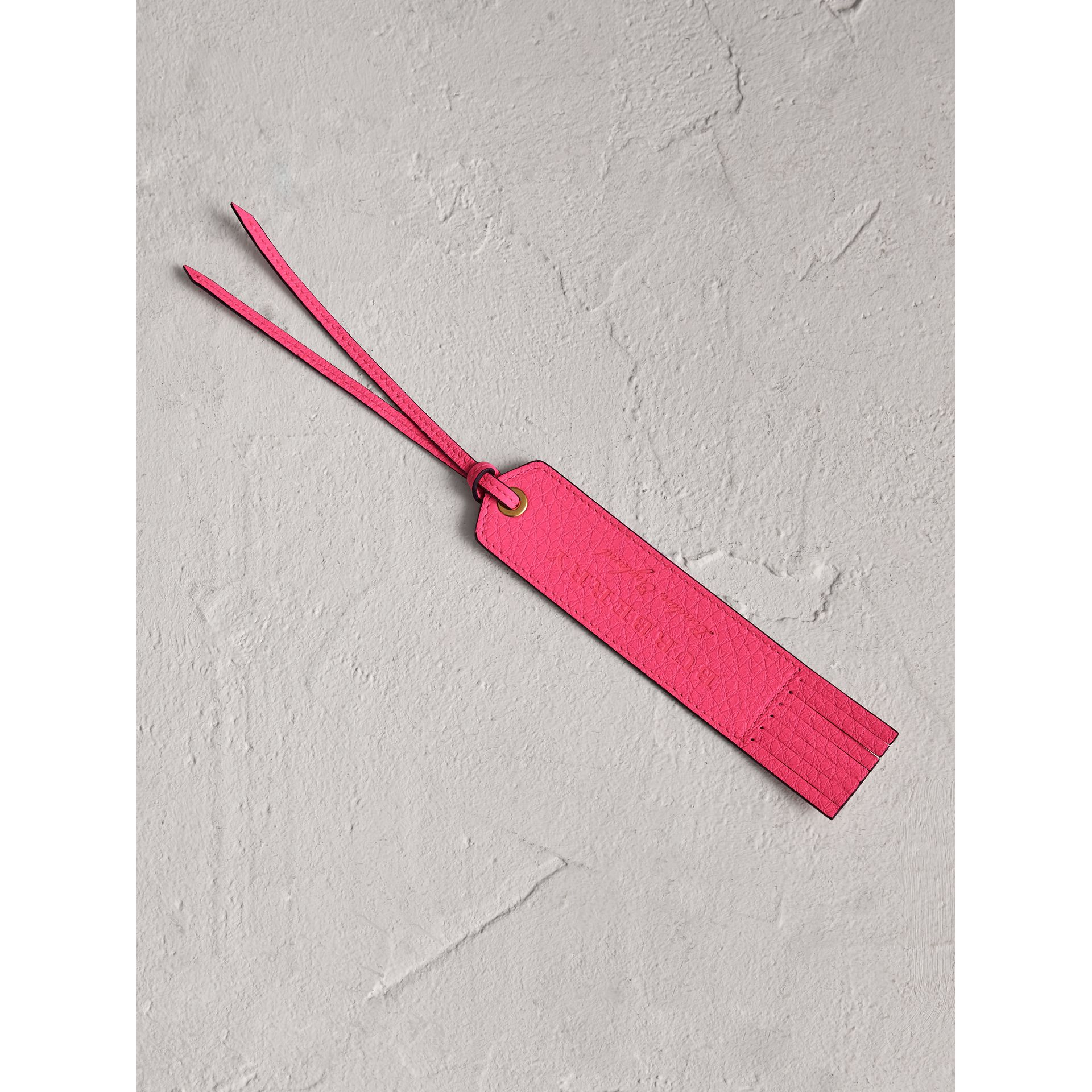 Embossed Leather Bookmark in Bright Pink | Burberry - gallery image 0