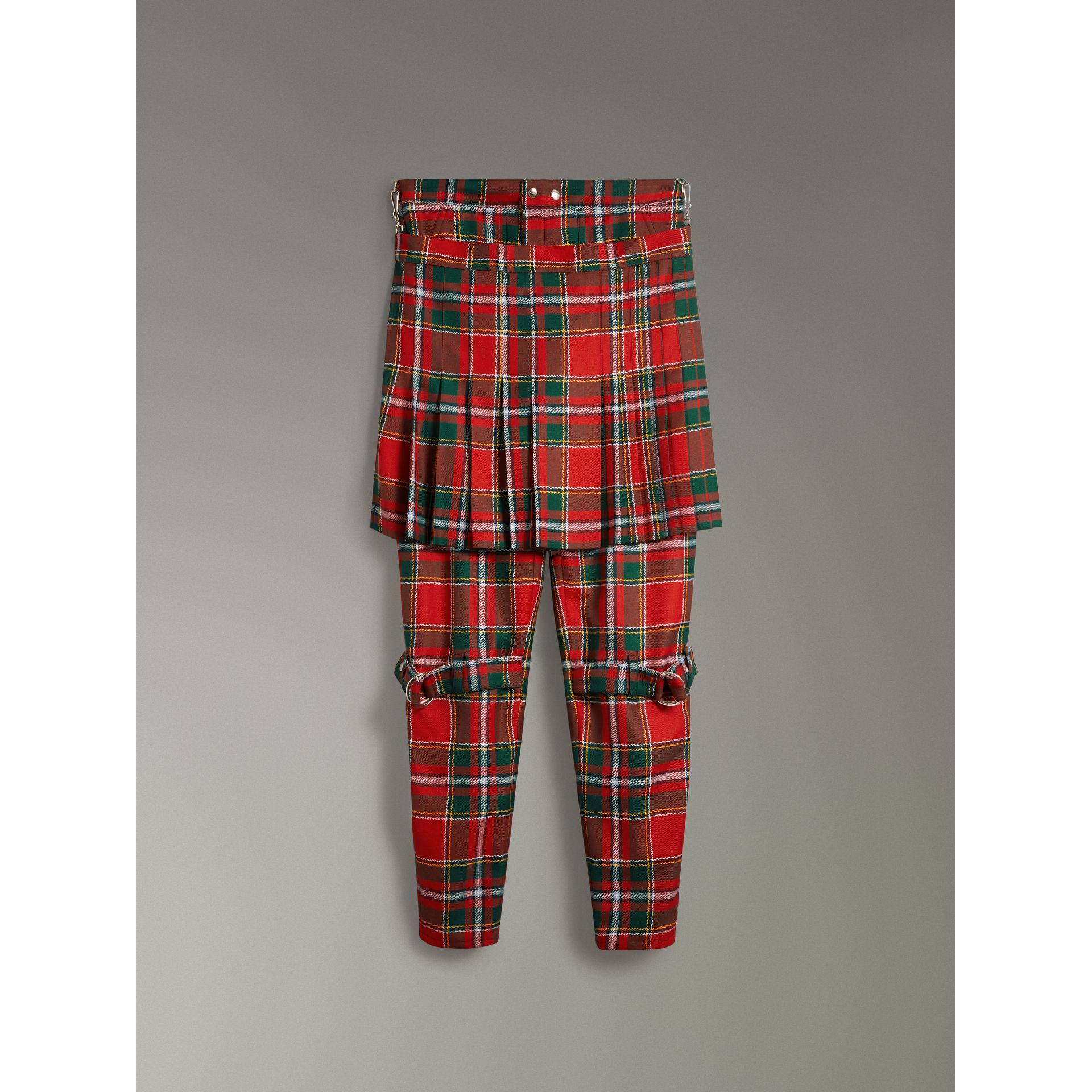 Modern Stewart Royal Tartan Punk Trousers in Bright Red | Burberry Australia - gallery image 3