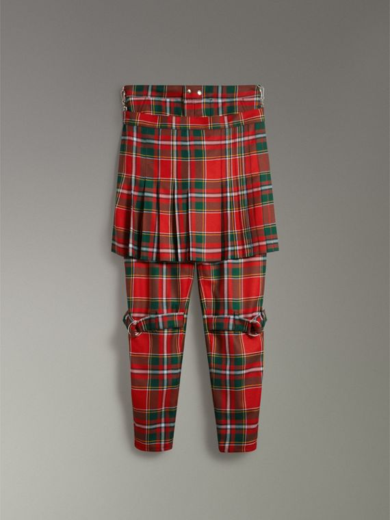 Modern Stewart Royal Tartan Punk Trousers in Bright Red | Burberry Australia - cell image 3