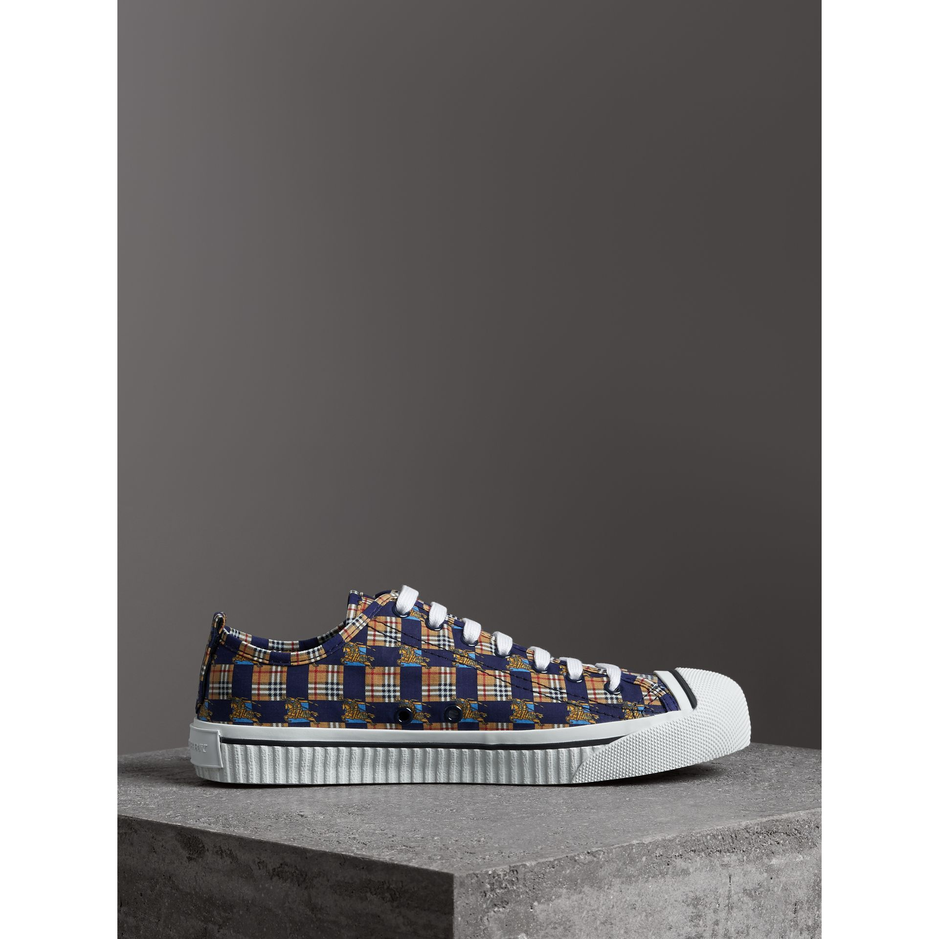 Tiled Archive Print Cotton Sneakers in Navy | Burberry - gallery image 4