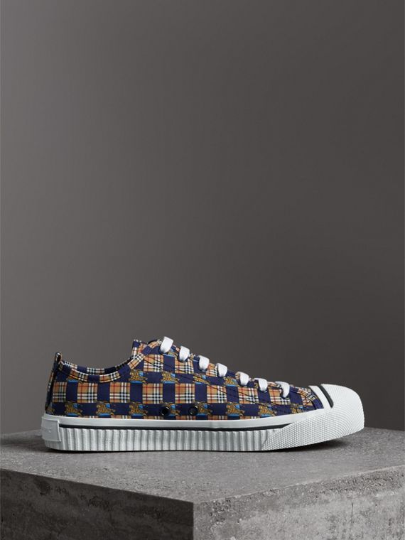 Tiled Archive Print Cotton Sneakers in Navy - Men | Burberry Hong Kong - cell image 3
