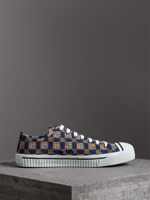 Tiled Archive Print Cotton Sneakers in Navy - Men | Burberry - cell image 3