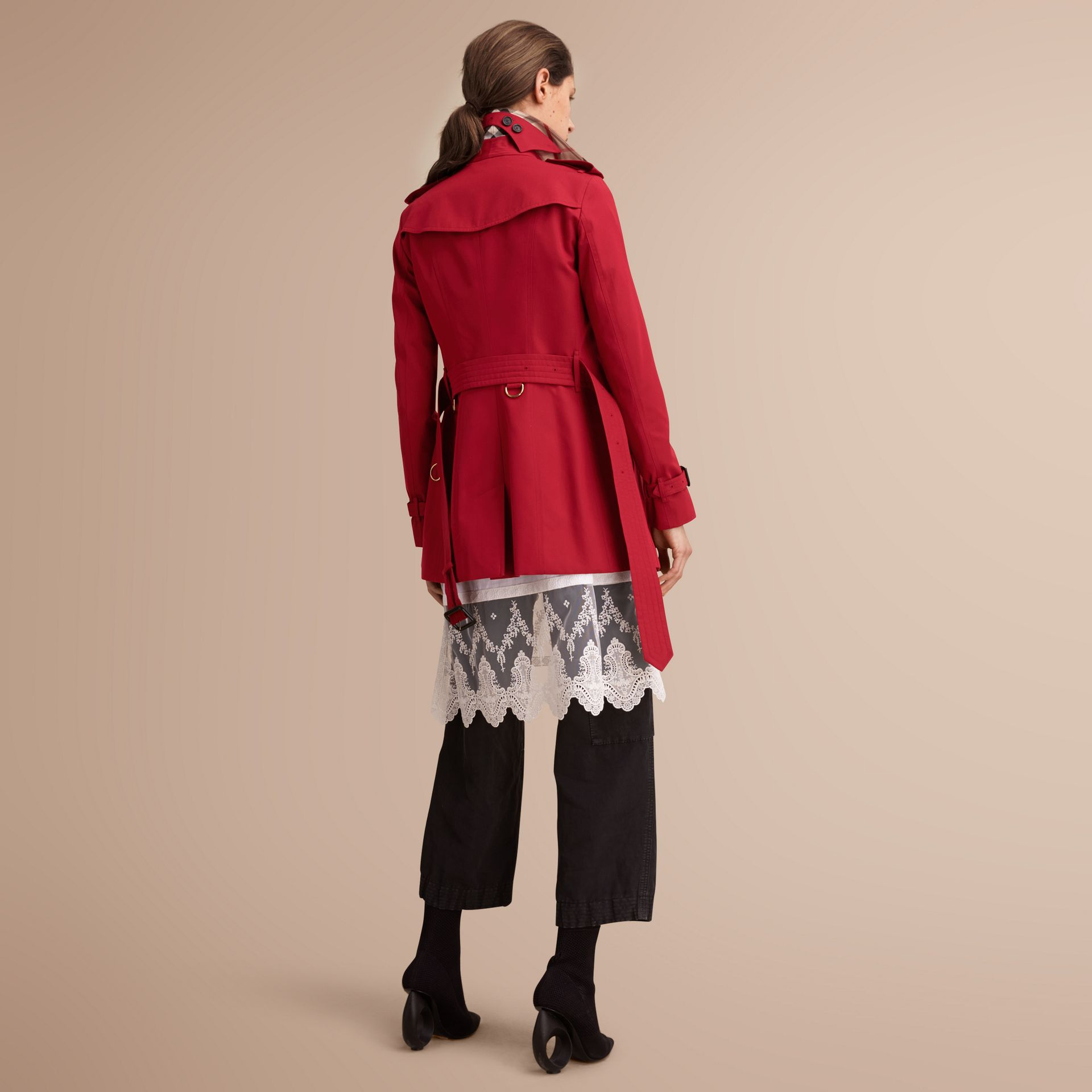The Sandringham – Short Heritage Trench Coat in Parade Red - gallery image 3