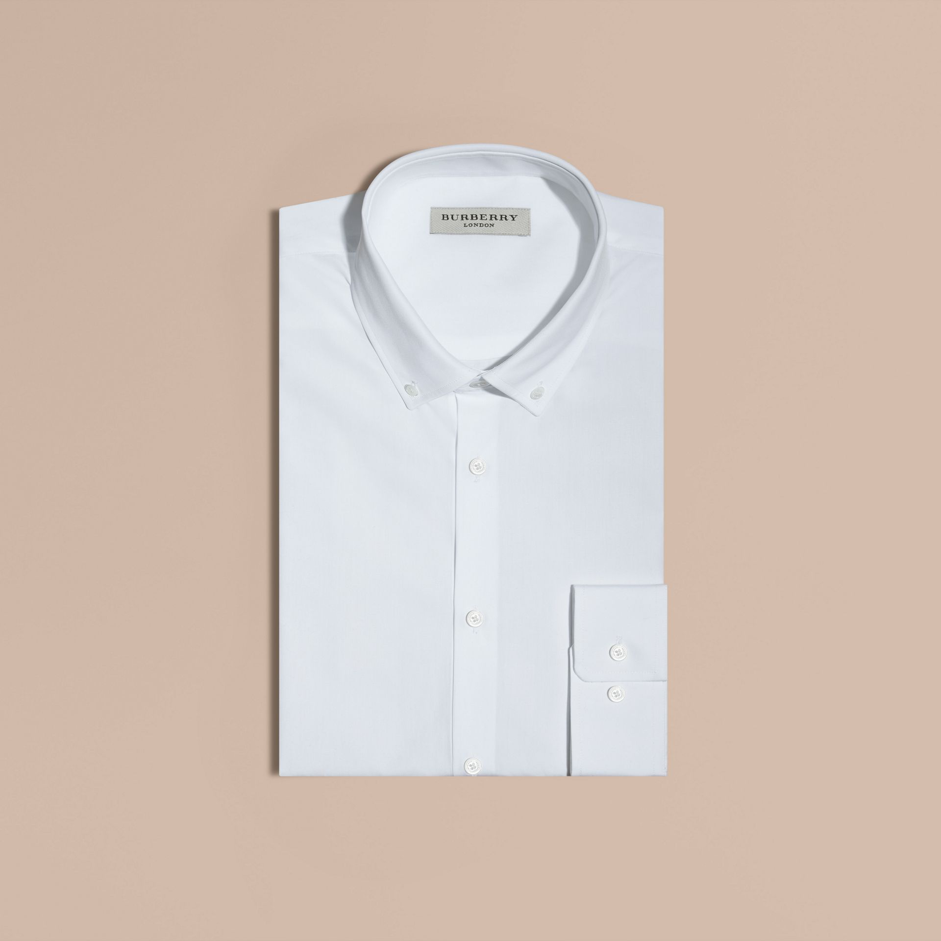 White Modern Fit Button-down Collar Cotton Poplin Shirt - gallery image 4