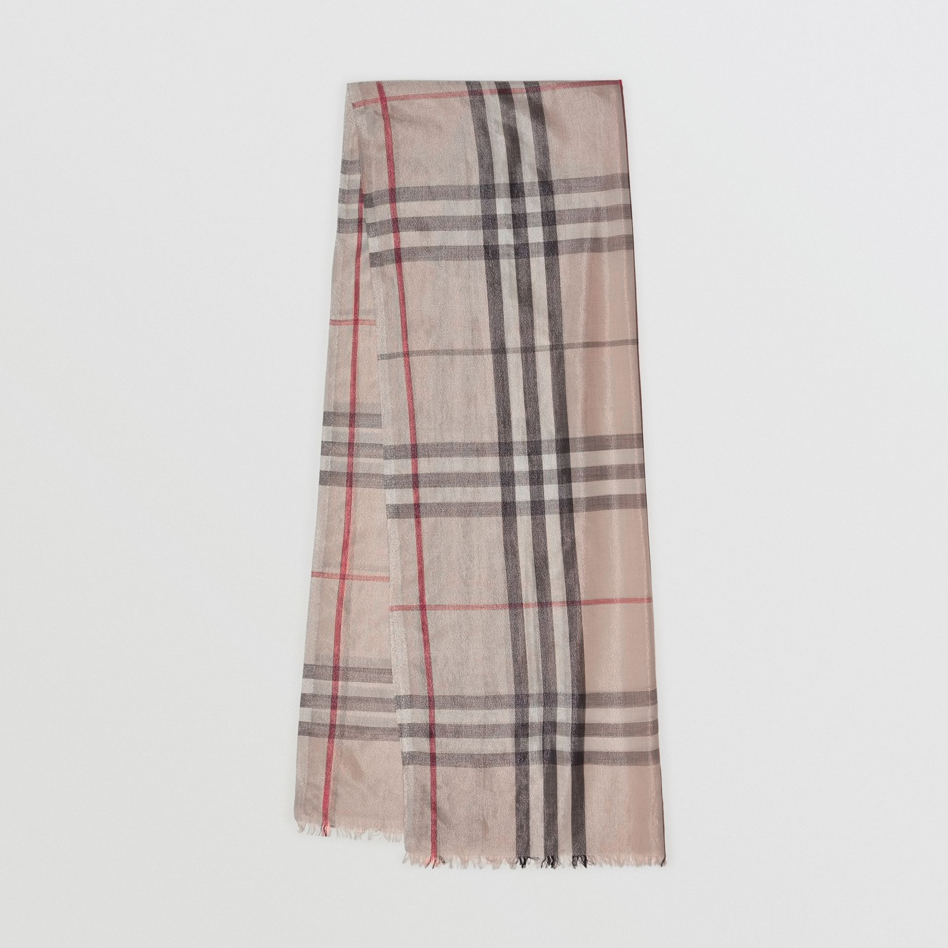 Metallic Check Silk and Wool Scarf in Stone/ Silver | Burberry United Kingdom - gallery image 0