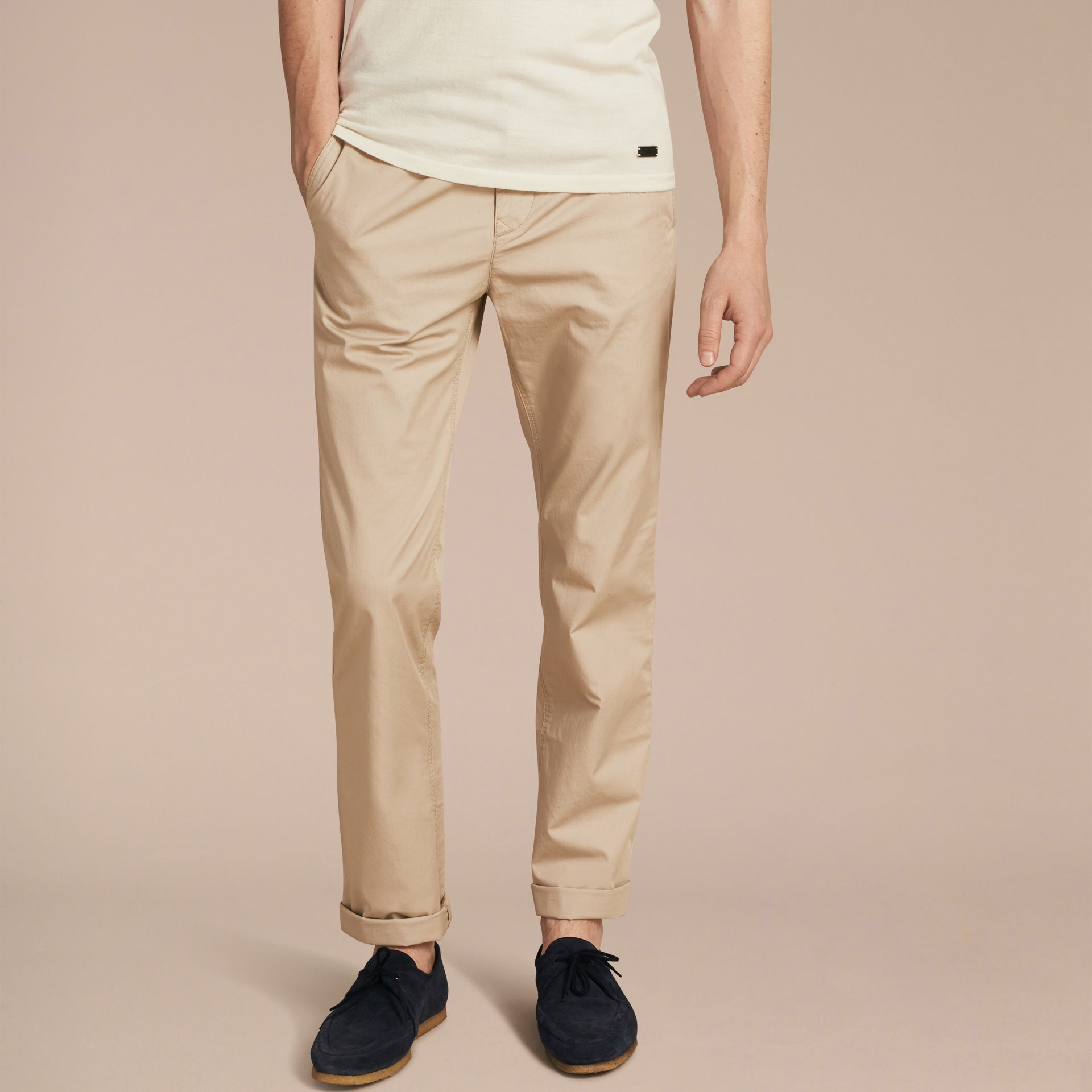 Straight Fit Cotton Chinos in Taupe - gallery image 6