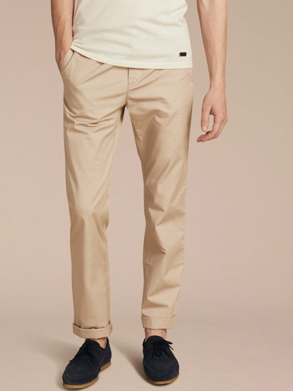 Straight Fit Cotton Chinos in Taupe - Men | Burberry Australia