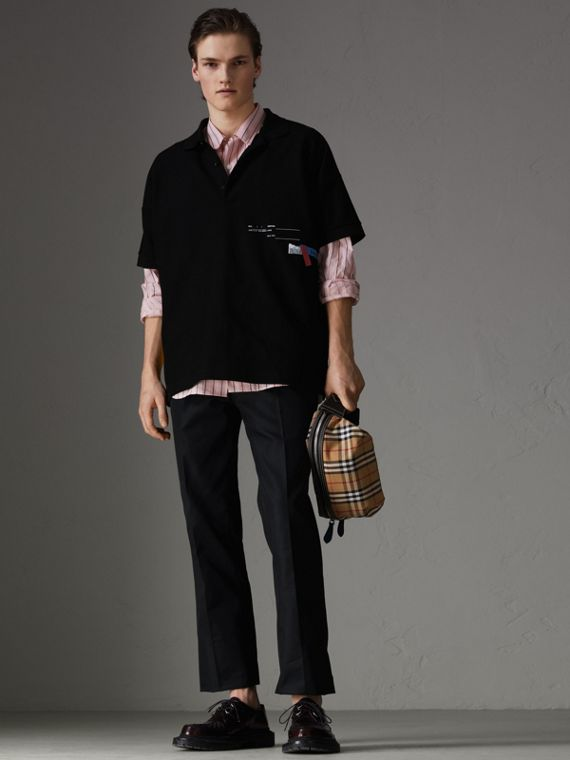 Sport Stripe Oversized Polo Shirt in Black