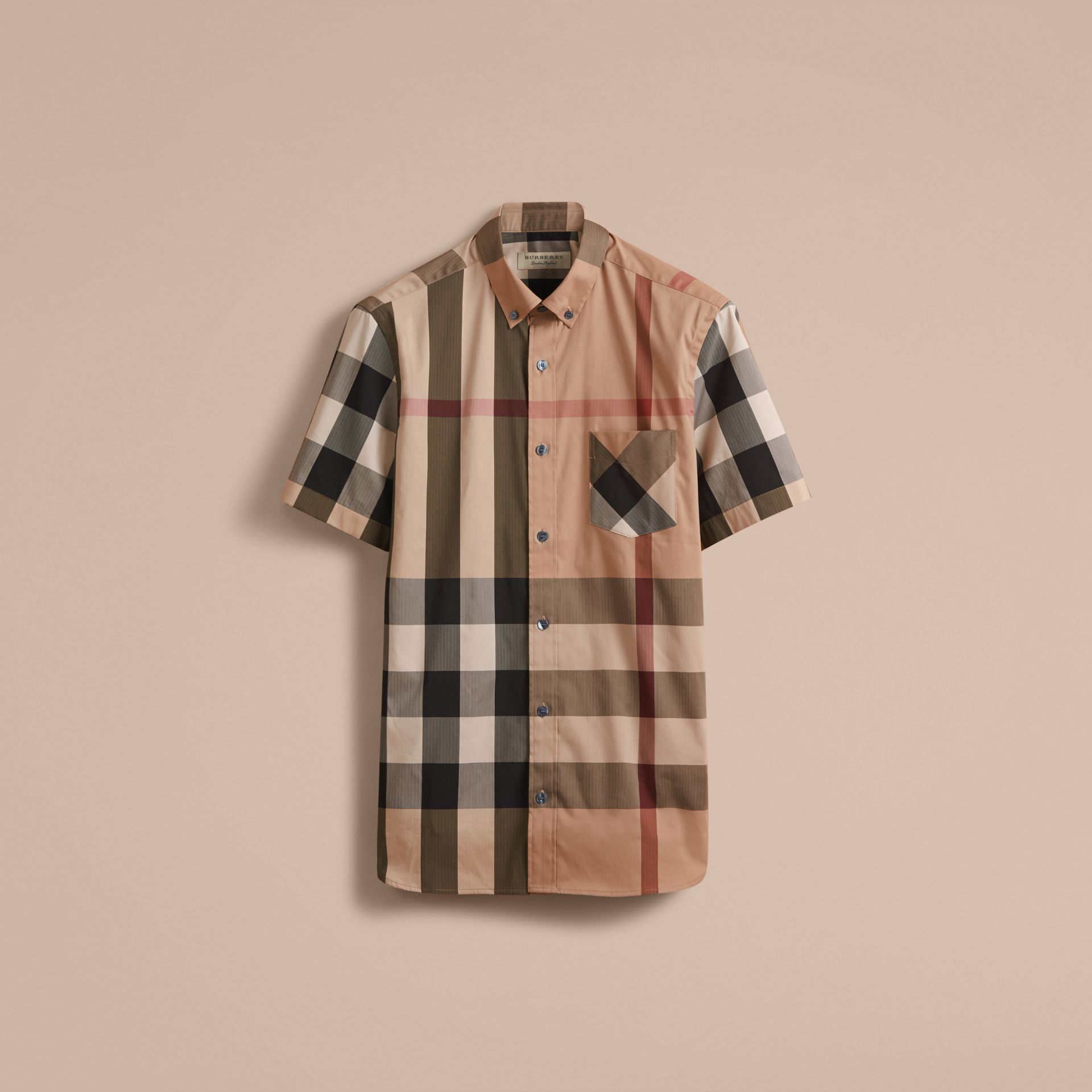 Short-sleeved Check Stretch Cotton Blend Shirt Camel - gallery image 4