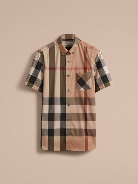 Short-sleeved Check Stretch Cotton Blend Shirt Camel - cell image 3