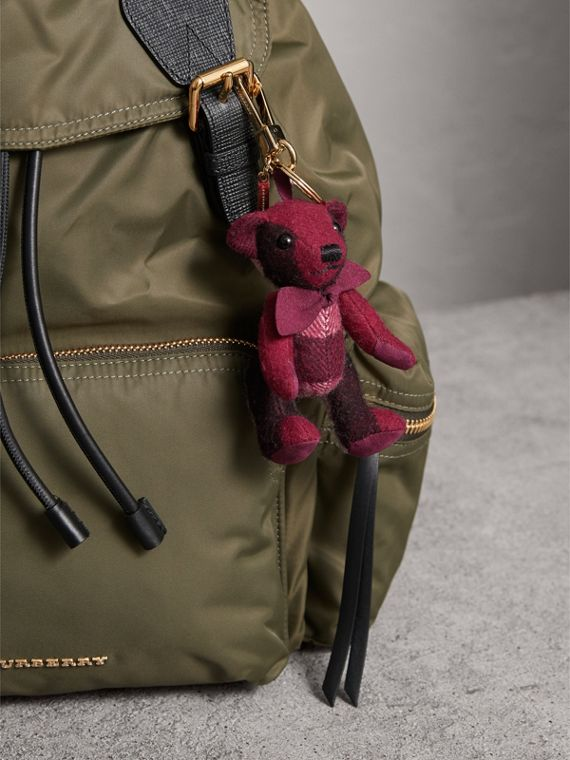 Thomas Bear Charm in Check Cashmere in Plum | Burberry United Kingdom - cell image 2