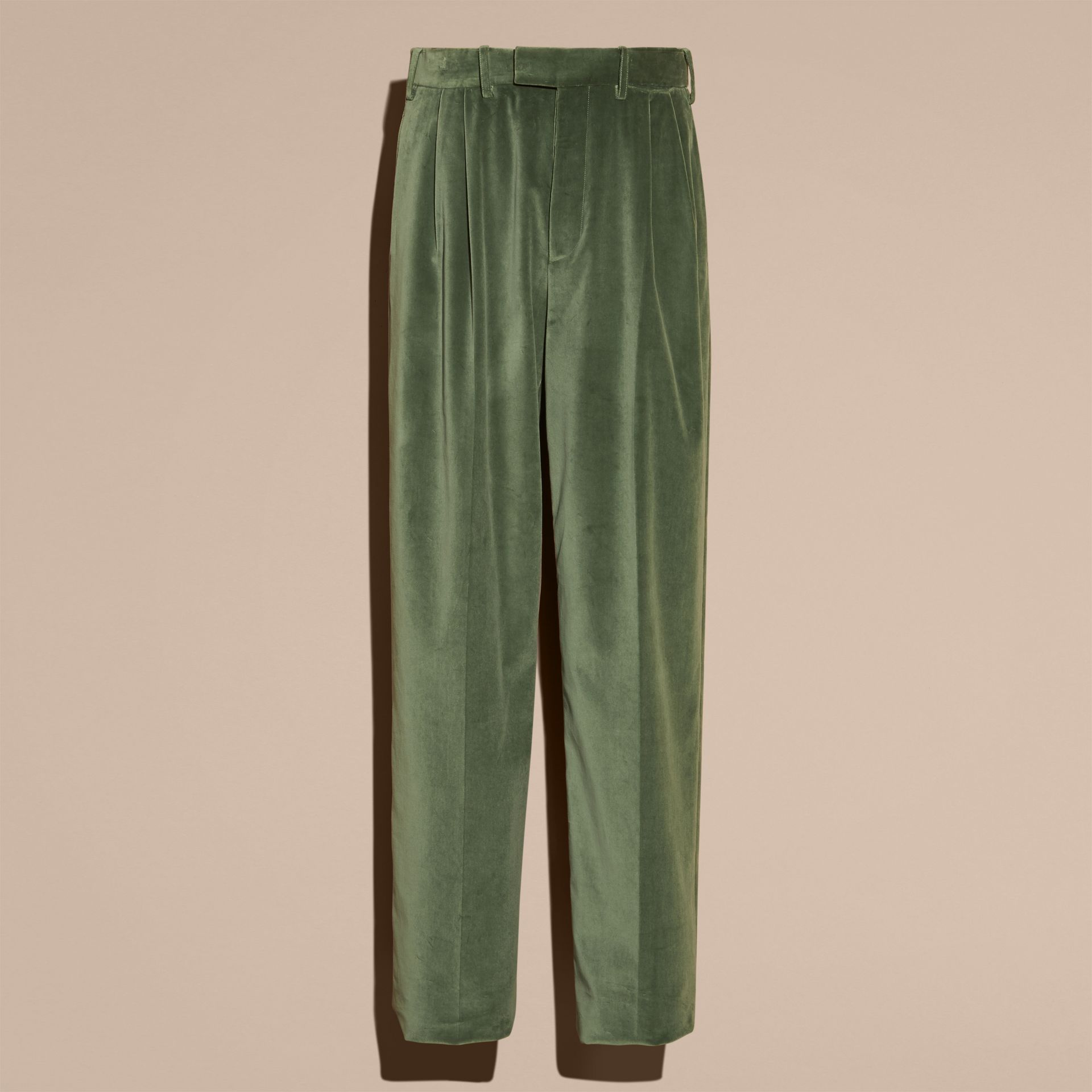 Pale eucalyptus Wide-leg Salt-washed Velvet Trousers Pale Eucalyptus - gallery image 4