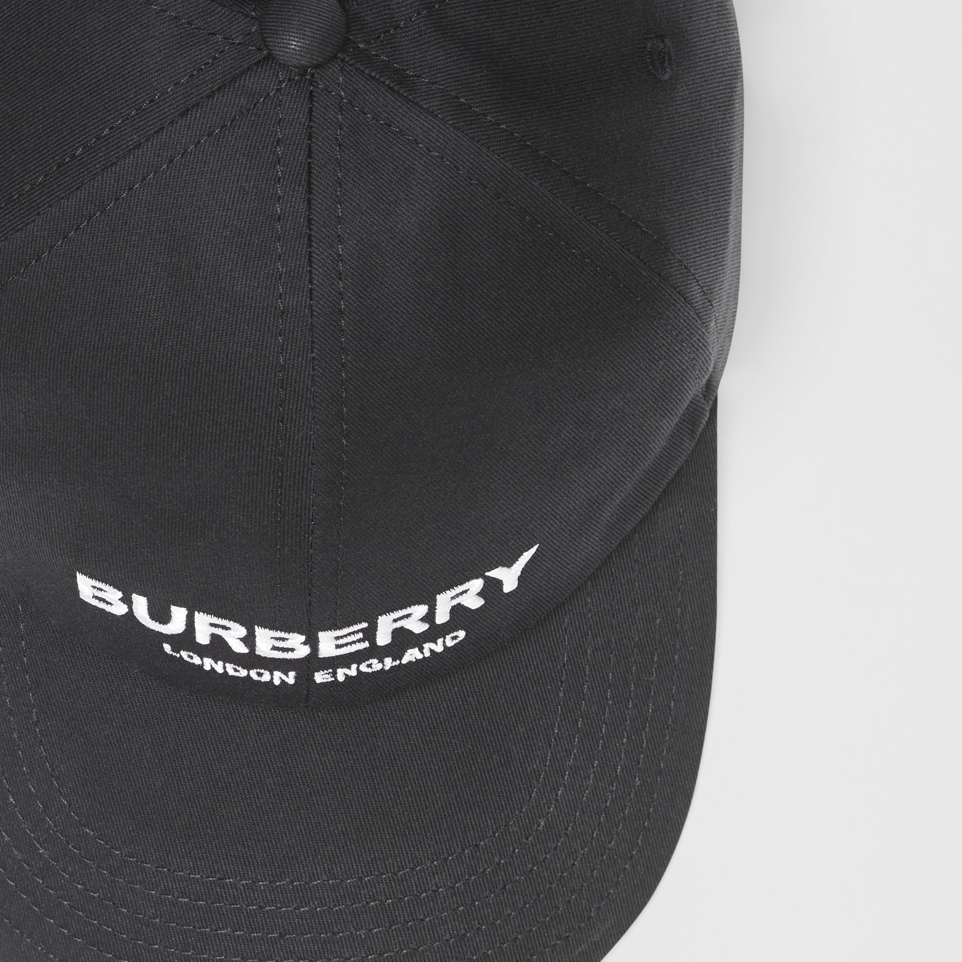 Embroidered Logo Baseball Cap in Black | Burberry Australia - gallery image 1