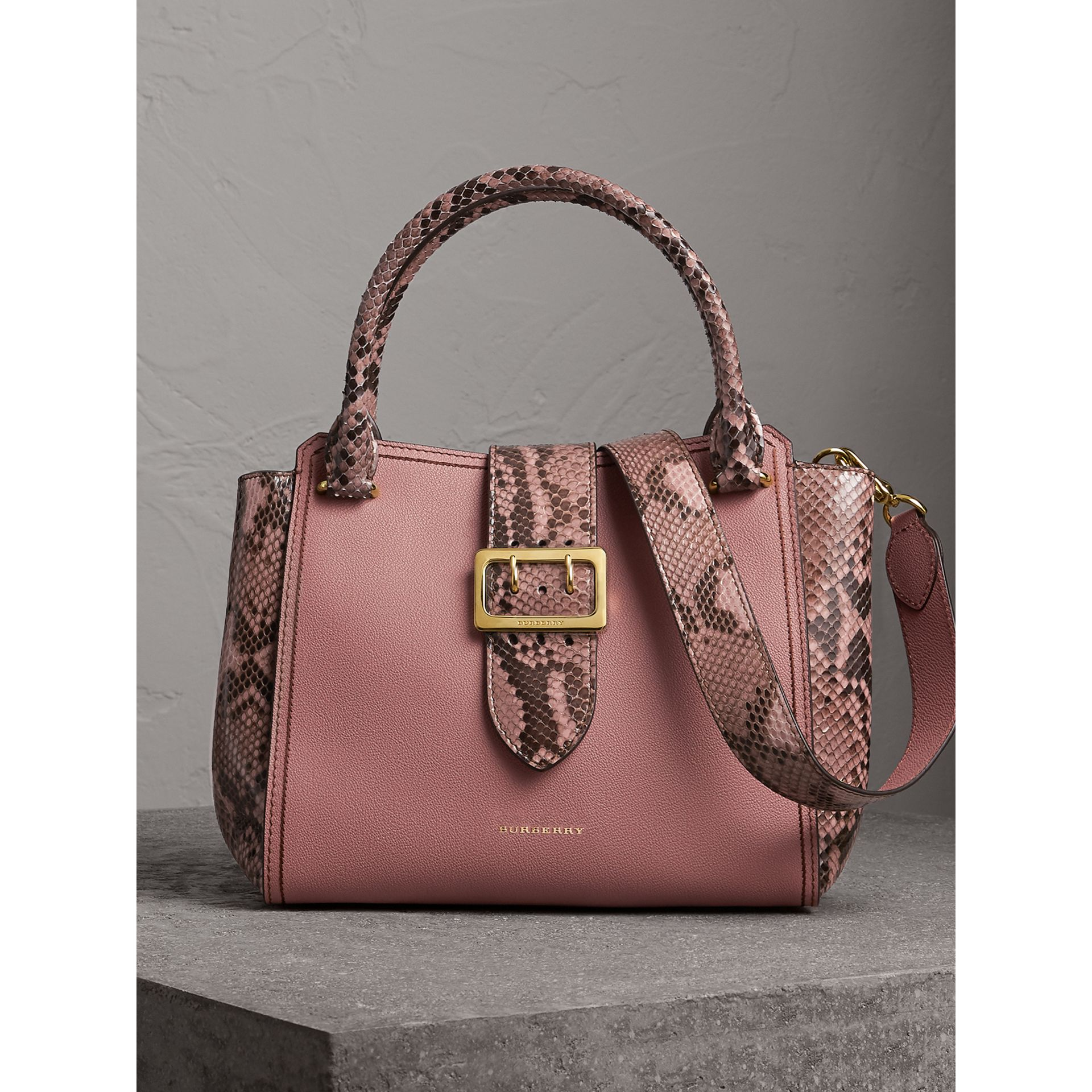 The Medium Buckle Tote in Grainy Leather and Python in Dusty Pink - Women | Burberry - gallery image 0