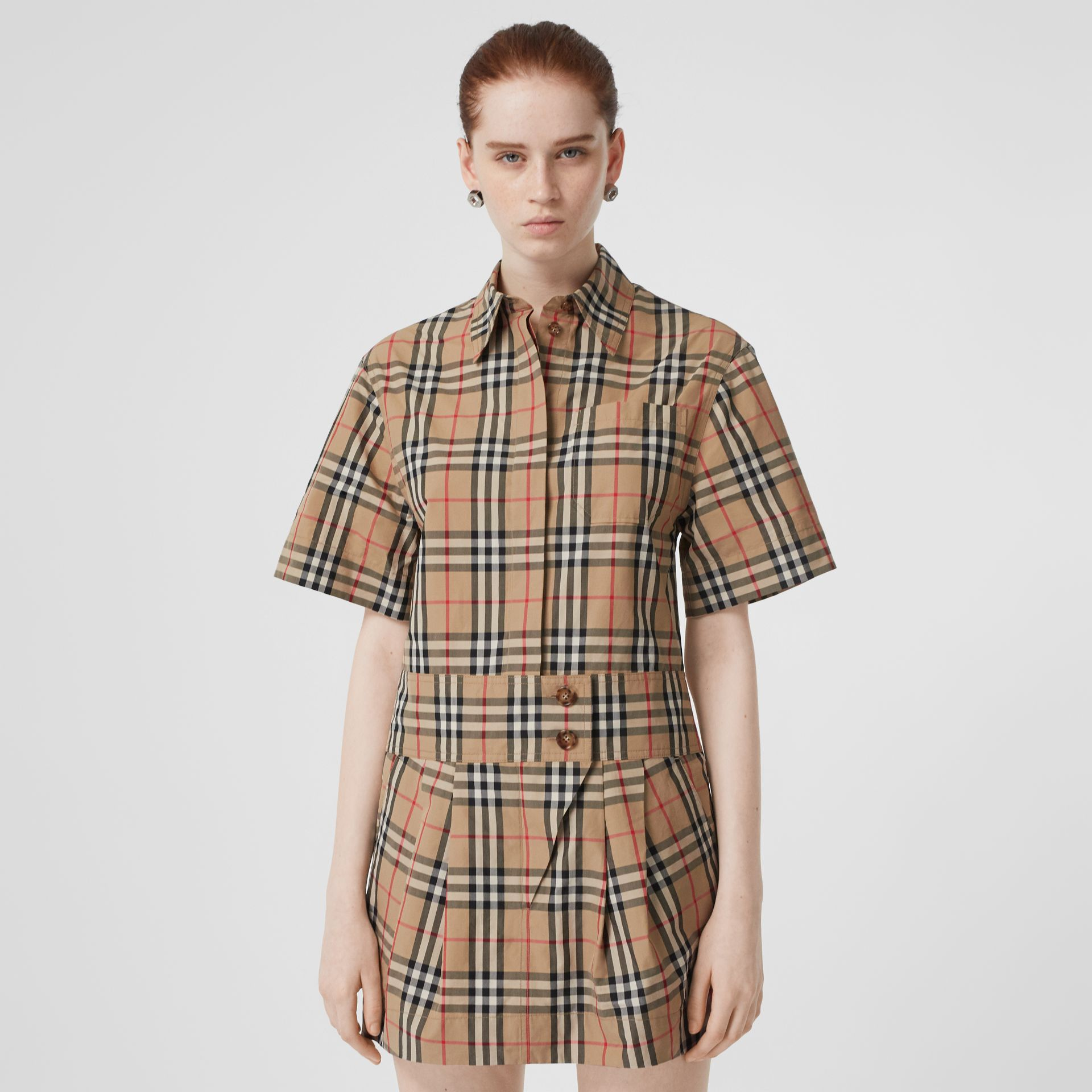 Short-sleeve Vintage Check Shirt Dress in Archive Beige - Women | Burberry - gallery image 0