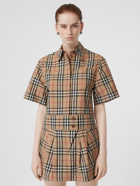 Short-sleeve Vintage Check Shirt Dress in Archive Beige