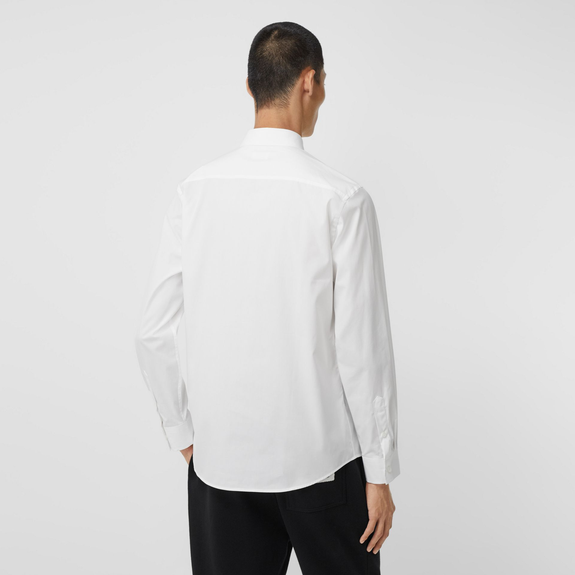 Logo Detail Stretch Cotton Poplin Shirt in White - Men | Burberry - gallery image 2