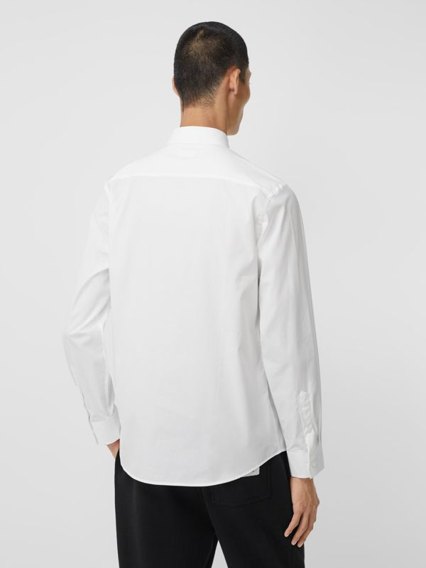 Logo Detail Stretch Cotton Poplin Shirt in White - Men | Burberry Singapore - cell image 2
