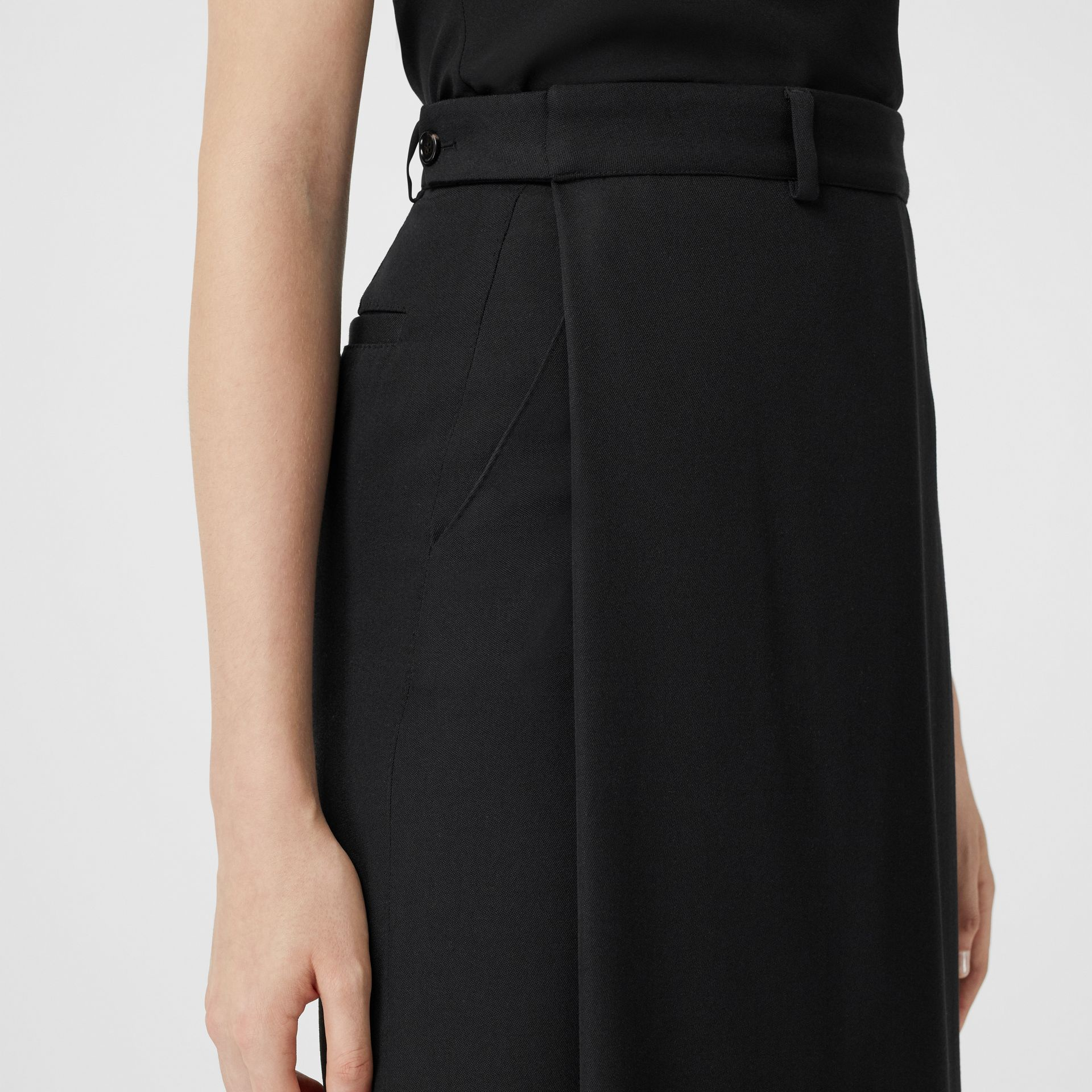 Skirt Panel Wool Wide-leg Trousers in Black - Women | Burberry - gallery image 4