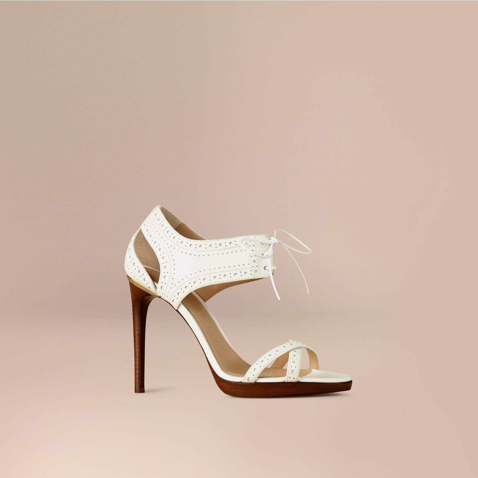Optic white Perforated Detail Lace-up Leather Sandals - gallery image 1