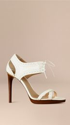 Perforated Detail Lace-up Leather Sandals