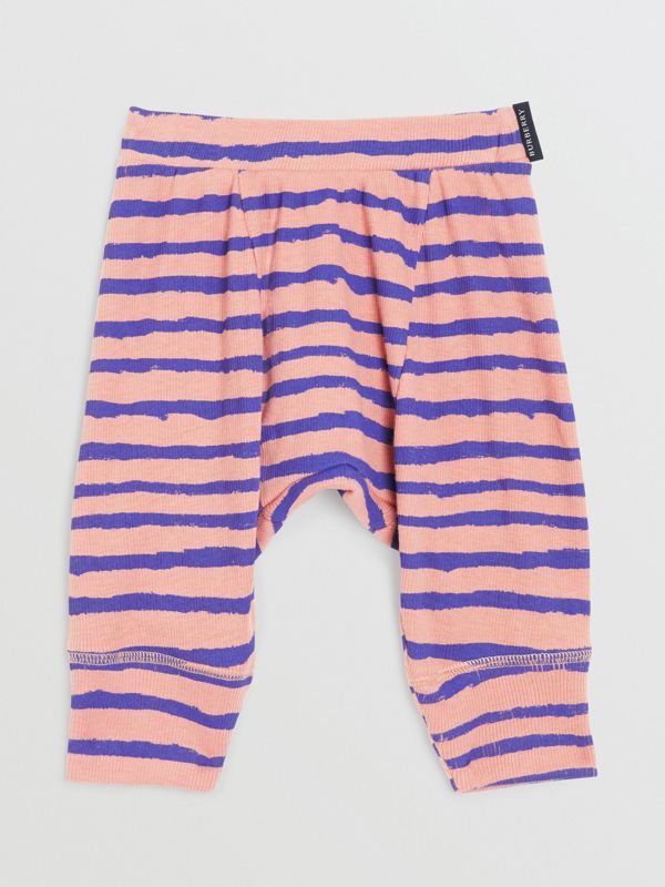 Striped Rib Knit Cotton Sweatpants in Dusty Pink - Children | Burberry - cell image 2