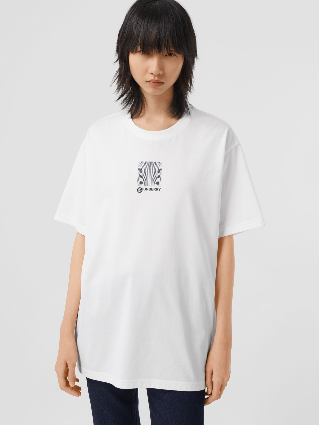 T-shirt oversize in cotone con stampa collage (Bianco)