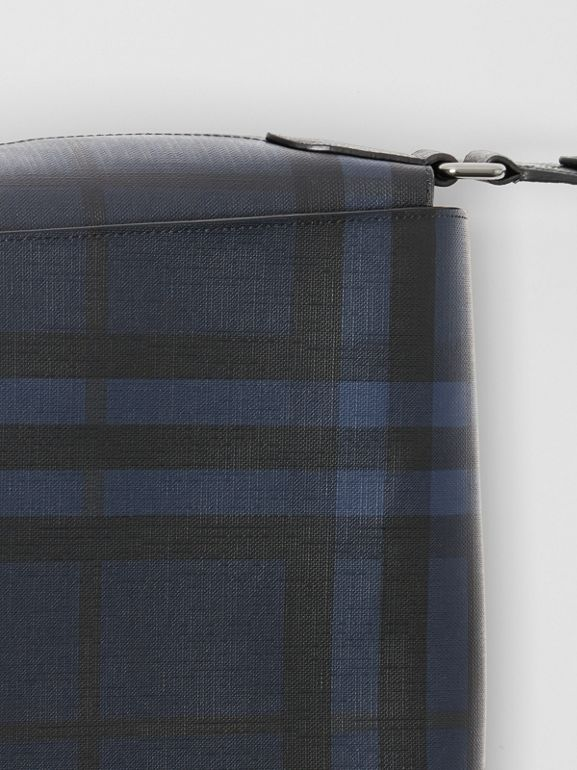 Large London Check Messenger Bag in Navy/black | Burberry United Kingdom - cell image 1