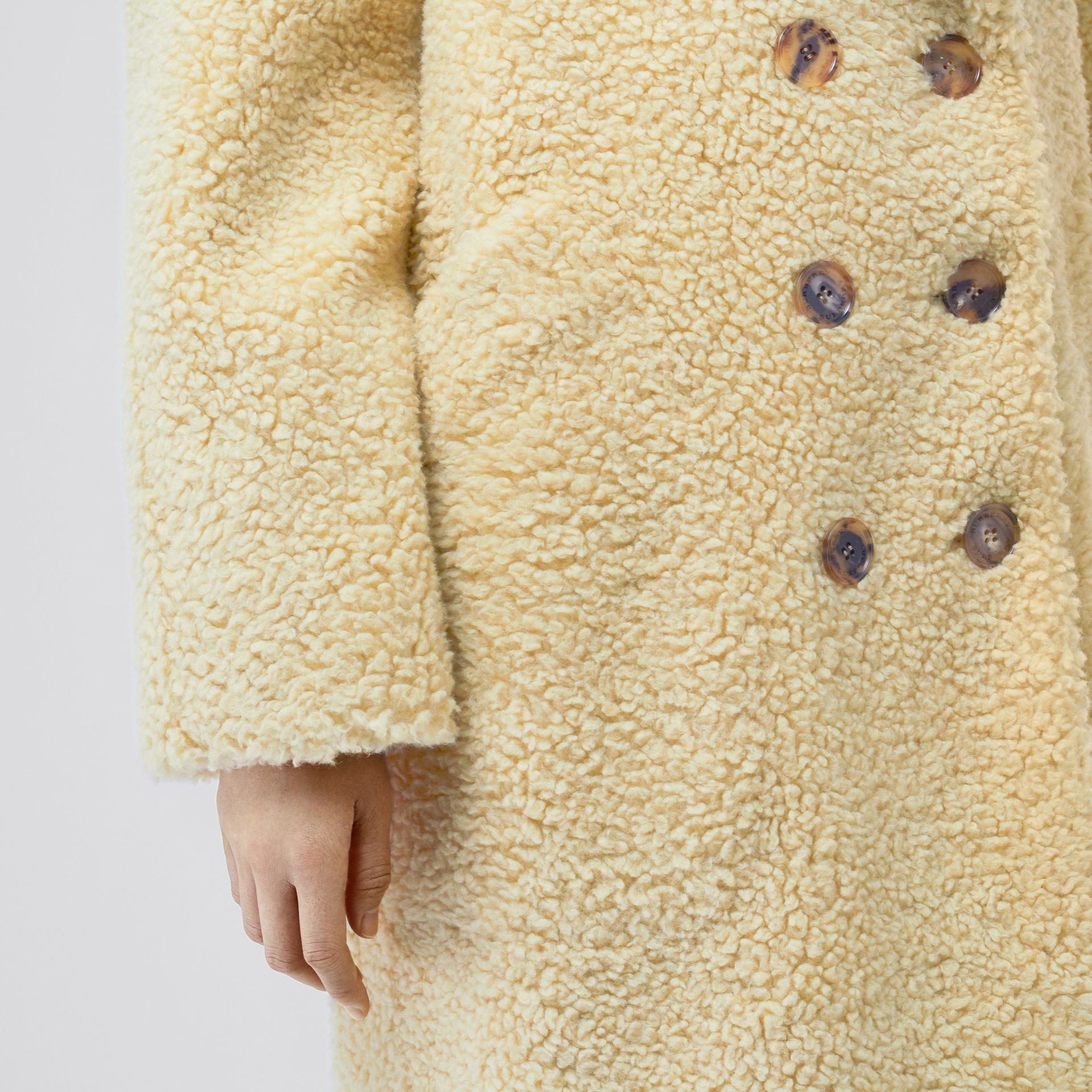 Faux Shearling Double-breasted Oversized Coat in Camomile - Women | Burberry - gallery image 4