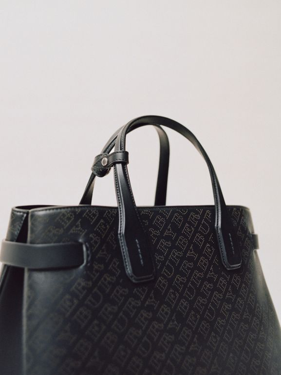 The Small Banner in Perforated Logo Leather in Black - Women | Burberry - cell image 1