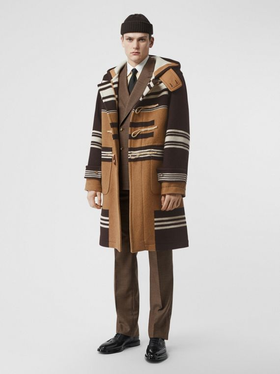 Stripe Detail Wool Duffle Coat in Camel